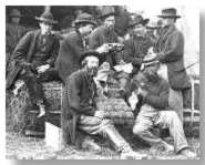 """Hyman (top left) """"sitting in"""" with the Army of the Potomac's quartermasters' jug band."""
